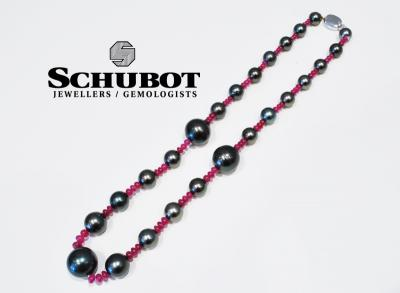 Tahitian black pearl and ruby necklace